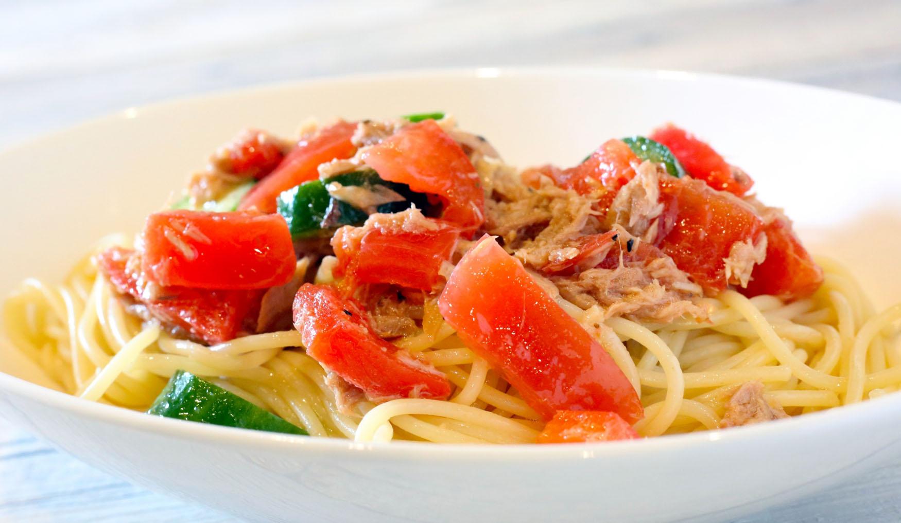 簡単!ツナとトマトの冷製パスタ